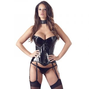 black level lack corsage with suspender latex tøj