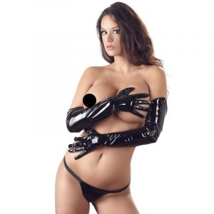 black level long glovs latex tøj