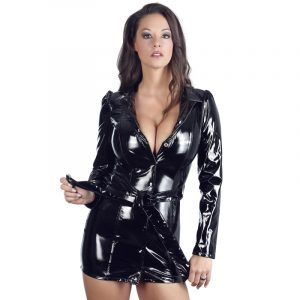 black level vinyl coat dress latex tøj