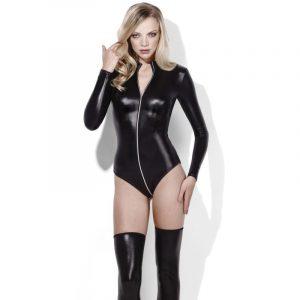 fever wetlook miss whiplash zip through bodysuit latex tøj