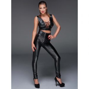 noir handmade amuse me high waist bukser med snøre latex tøj