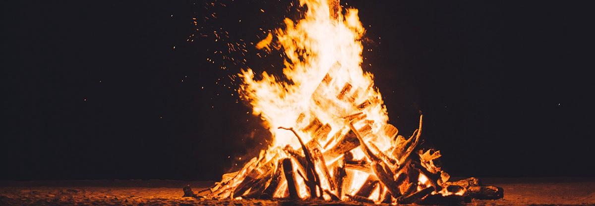 big fireplace outside burning